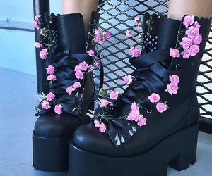 flowers, black, and shoes image
