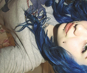 beauty, blue hair, and colored image