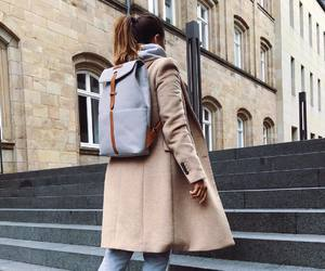 backpack, coat, and fashion image