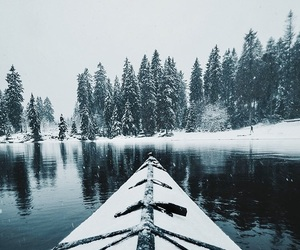 lake, snowflakes, and travel image