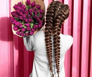 girl, hair, and bouquet image