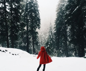 red, winter, and girl image