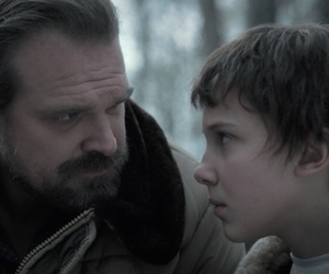 eleven, stranger things, and david harbour image