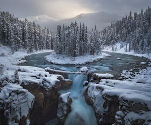 landscape, lake, and mountains image