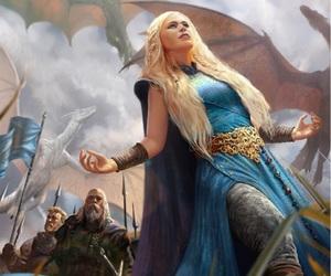 game of thrones, daenerys targaryen, and dragon image