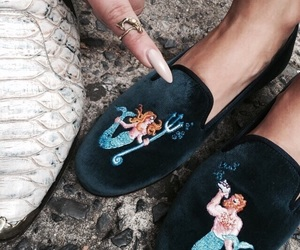 mermaid, shoes, and theme image