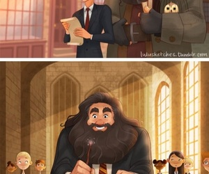 harry potter, hagrid, and book image