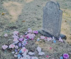 flowers, grave, and cemetery image