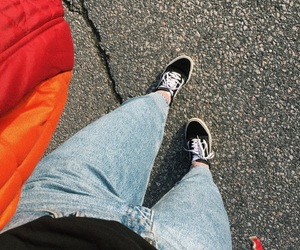 boyfriend jeans, old skool, and red image
