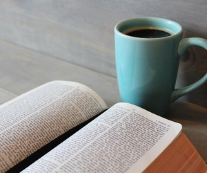 book, bible, and coffee image