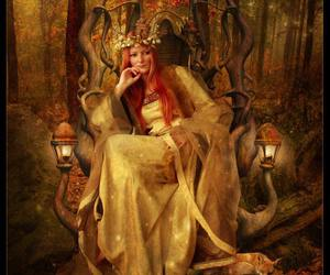 redhead princess forest, cynenalia art, and druid priestess princess image