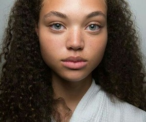 curly, gray eyes, and model image