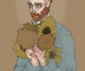art, painting, and sunflowers image