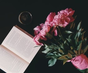 coffee, flowes, and book image