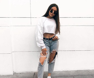 white, jeans, and outfit image