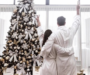 christmas, couple, and white image