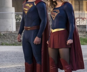 Supergirl, superman, and clark kent image