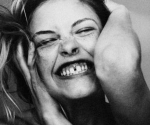 smile, model, and black and white image
