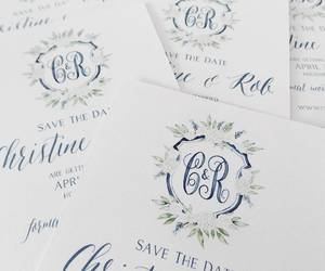 something blue, stationery, and wedding invitation image