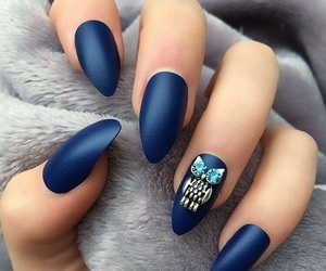 fashion, nails, and dark blue image