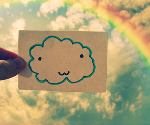 clouds, rainbow, and cute image