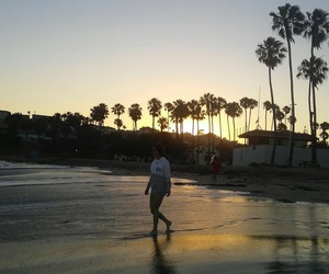 beach, sunsest, and cali image