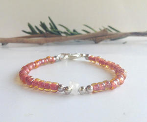 etsy, beaded bracelet, and light pink beads image