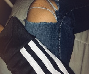 adidas, hole in pants, and blackandwhite image