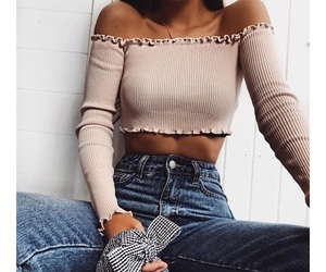 beauty, off shoulder, and ootd image