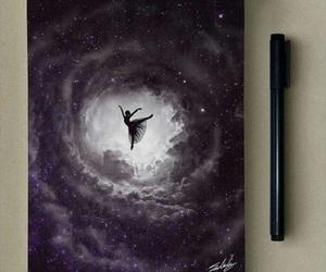 art, ballerina, and galaxy image