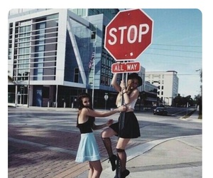 girl, friends, and stop image