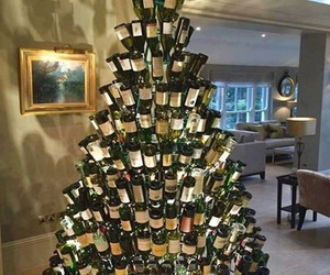 christmas, wine, and tree image