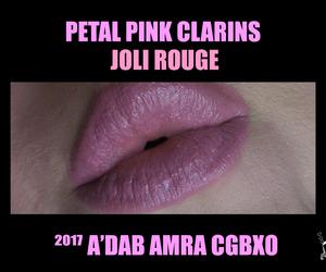makeup, pink lipstick, and clarins image