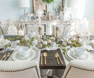 christmas, decorating, and dining room image