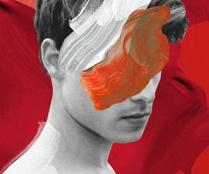 Collage, man, and red image