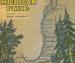 chicago, map, and trees image