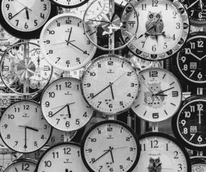 black, white, and clock image