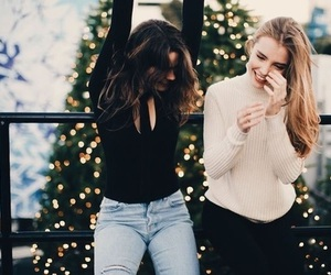 girl, christmas, and friends image