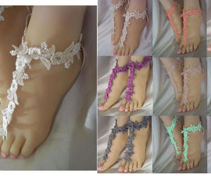 etsy, bridesmaid sandals, and lace barefoot sandal image