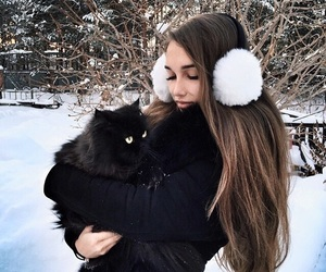 girl, winter, and cat image