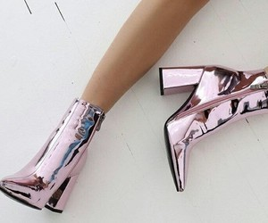 boots, rose gold, and fashion image