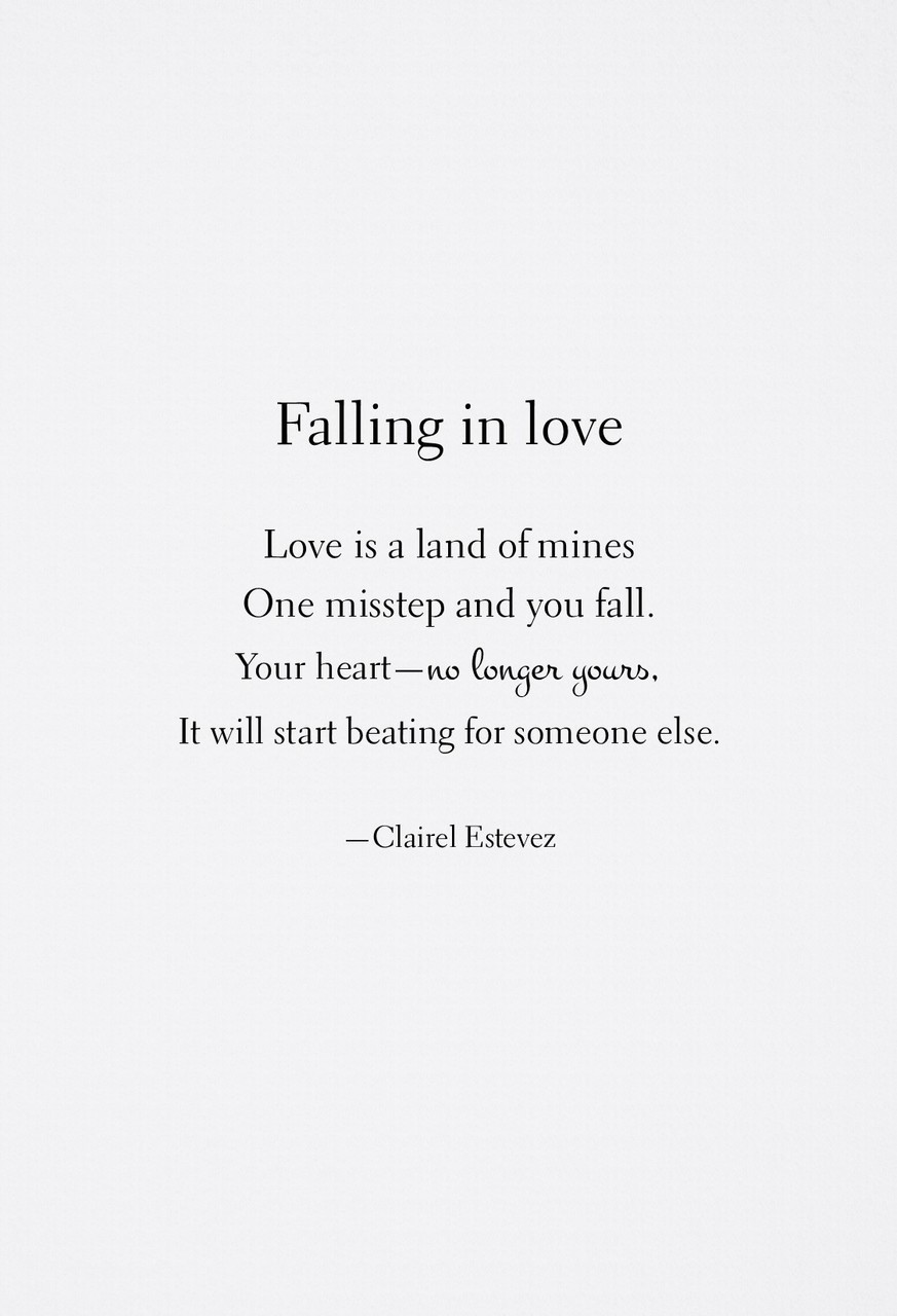 Falling In Love Love Poem By Clairel Estevez This is a love message in free verse, which doesn't rhyme. love poem by clairel estevez