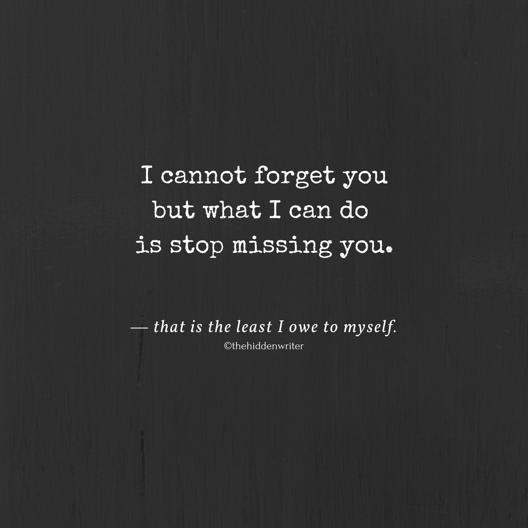 I Cannot Forget You But What I Can Do Is Stop Missing You