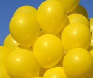 yellow, balloons, and aesthetic image