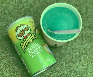 aesthetic, green, and pringles image
