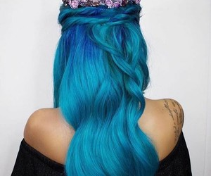 blue hair, crown, and girl image
