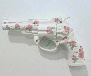 gun, flowers, and pink image