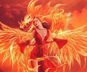 redhead red dress, mirella santana art, and redhead dragon flames image