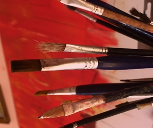 art, brush, and canvas image