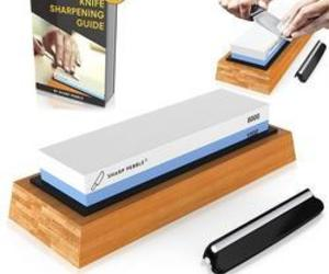 sharpening stones, japanese chef knife, and sharpening supplies image